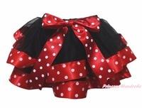 Baby Black 4 Layer Stars White Dots Red Ribbon Girl Petal Skirt Nb-8y