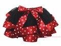 Bebé Negro 4 Capa Estrellas Puntos Blancos Rojo Chica Cinta Pétalo Falda Nb-8y
