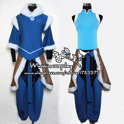Anime Die Legende von Korra Blau Cosplay Uniform Set Für Erwachsene Frauen Comic Con Party Halloween Cosplay Kostüm Nach Maß