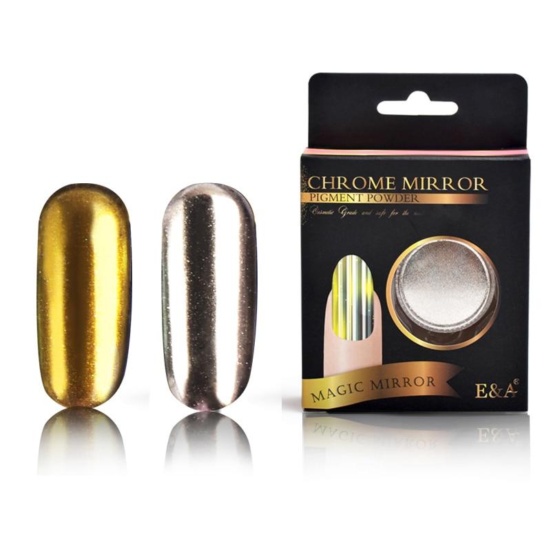 E & A 2 Scatole Set Hot Silver Gold Nail Pigment Decorazione unghie - Manicure