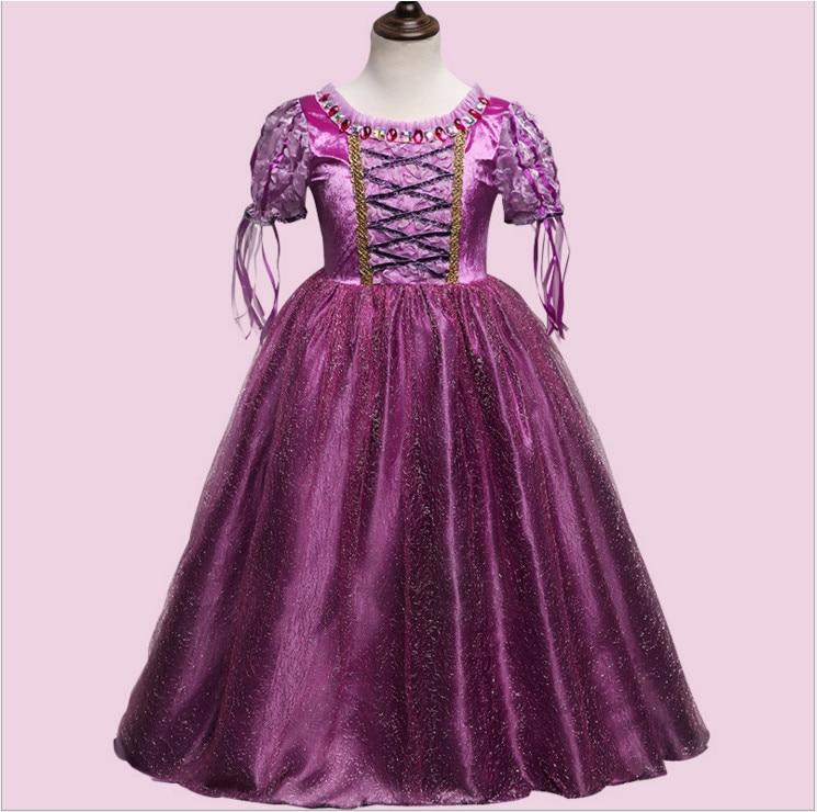 2017 elegant purple christmas halloween costume for girls Sophia princess dress ball gown gold print short sleeve kids clothing