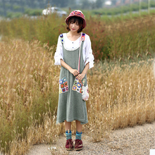 Women Mori girl Fall Embroidered Tank tops Dress Female Pocket  Patchwork Loose Dresses Sundress  dress  Japanese vest