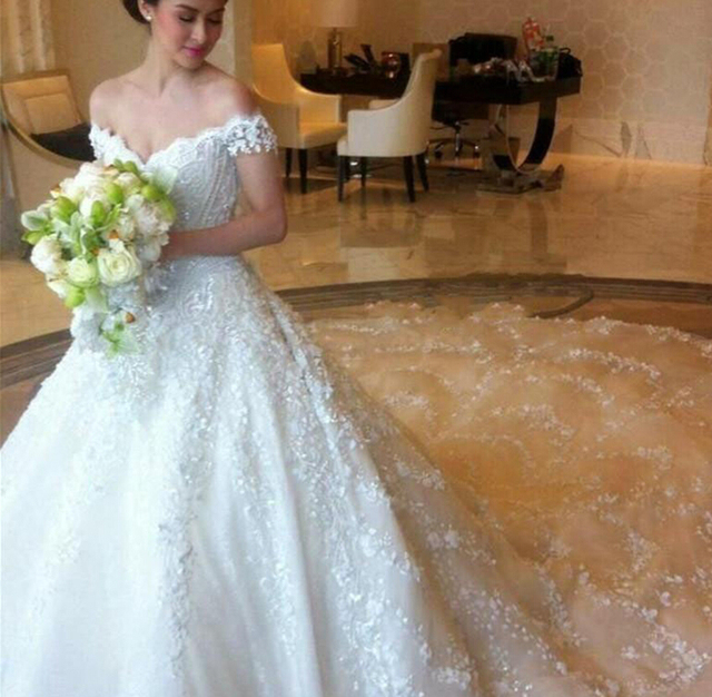 Robe De Mariage Thailand Luxury Lace Wedding Dresses With Capped ...