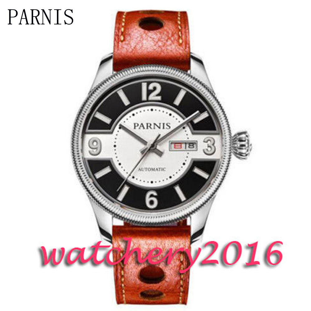 Parnis New 42mm black & white dial coin bezel date window sapphire automatic movement Mens Watch Parnis New 42mm black & white dial coin bezel date window sapphire automatic movement Mens Watch