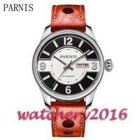 Parnis novo 42mm mostrador preto & branco moeda moldura data janela safira movimento automático relógio masculino       -