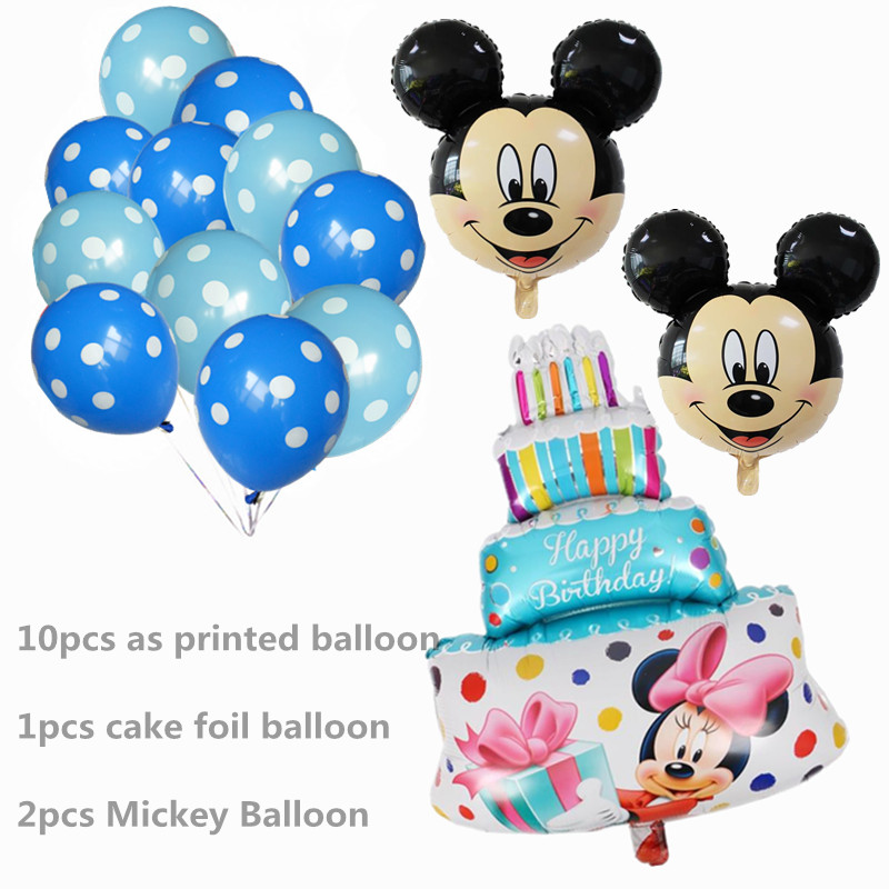 13Pcs Blue Boy Girl Balloons Mickey Mouse Party Decorations Cake Ballon Birthday Baby Shower Helium Dot Latex Balloon Kids Toy