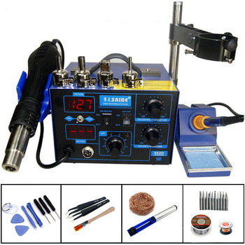 Saike 952D Heat Gun Electricity Soldering Iron 2 In 1 Desoldering Station Constant Temperature Welding Tools With Stents