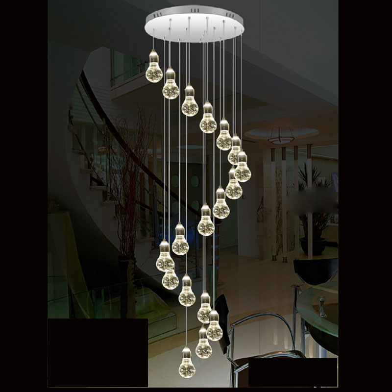 Modern simple duplex staircase LED bubble column living room chandelier rotating villa ceiling crystal column LED crystal lights