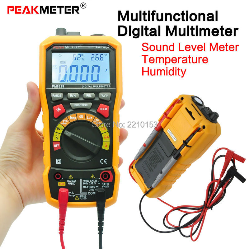 Multifunctional Digital Multimeter PM8229 DC/AC Sound Level Meter Temperature Humidity Test Function Relative Measurement digital indoor air quality carbon dioxide meter temperature rh humidity twa stel display 99 points made in taiwan co2 monitor