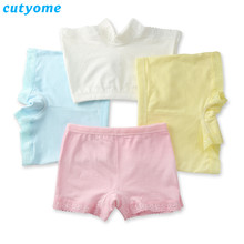 Wholesale-5pcs/lot Cutyome Kids 2018 Safety Shorts Panties Pure Cotton Solid Lace Boxers Underwear for Girls Boutique Underpants(China)