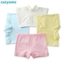Wholesale-5pcs/lot Cutyome Kids 2017 Safty Shorts Panties Pure Cotton Solid Lace Boxers Underwear for Girls Boutique Underpants