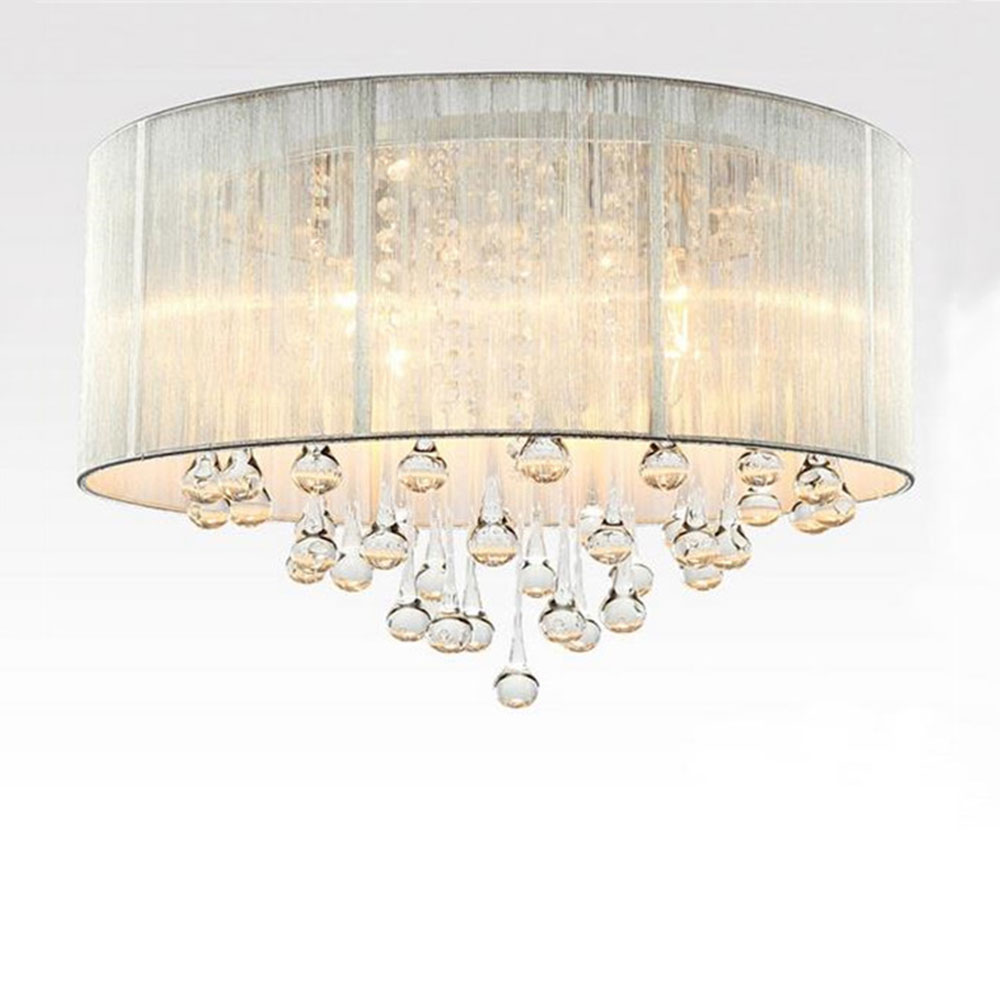 Circular living room modern bedroom study Crystal Ceiling lights lamp restaurant dining room black silver shade lustre lampe lustre shade round pendant lamp suspension e27 bulb light lighting for living dining room restaurant bedroom study