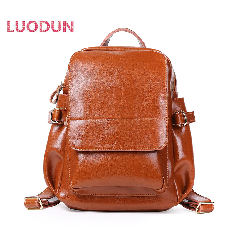 LUODUN spring and summer fashion leather bag oil wax leather shoulder bag doubles travel bag school backpack style bagLUODUN spring and summer fashion leather bag oil wax leather shoulder bag doubles travel bag school backpack style bag