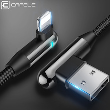 Cafele 90 Degree LED Lighting USB Cable for iPhone X Xr Xs Max 8 7 6s Plus Mobile Gaming Charger