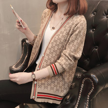 M womens cardigan sweater 2019 spring new loose Korean retro hit color outside tide
