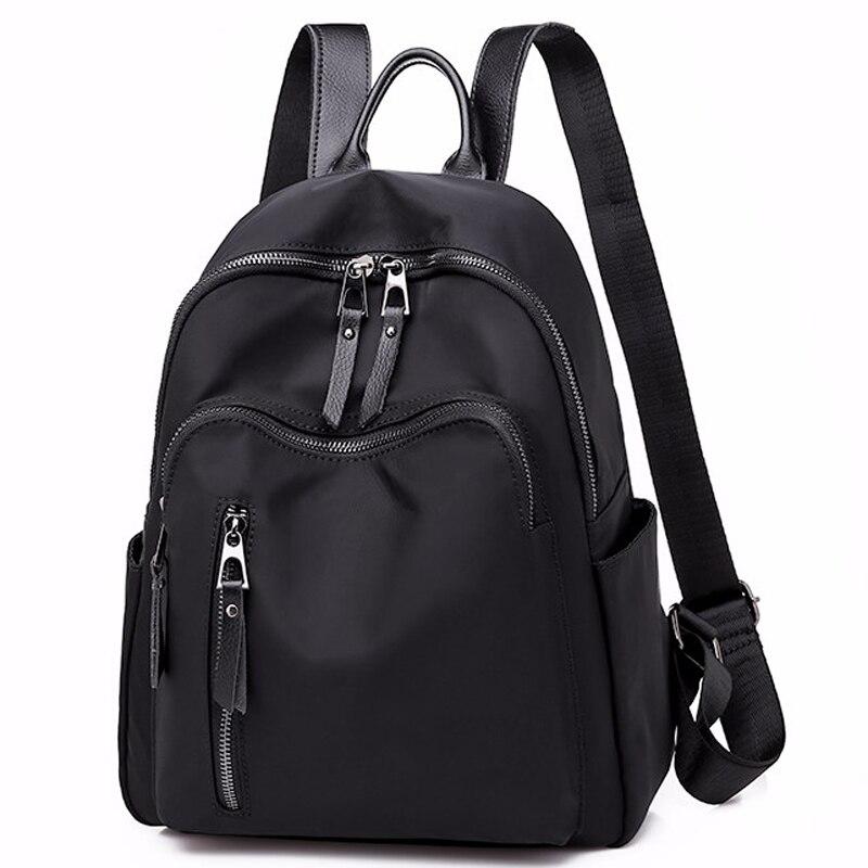 Women Backpack Nylon Casual School Bag For Teenager Girls Female Travel Bag Light Bagpack Rucksack Solid Internal Frame Zipper