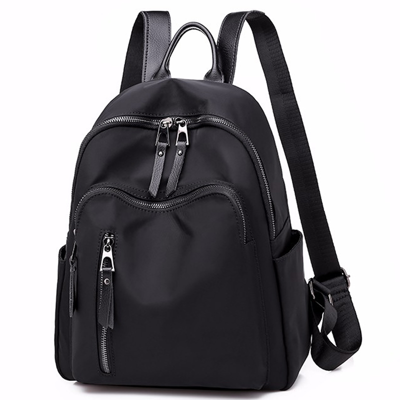 Women Backpack Nylon Casual School Bag For Teenager Girls Female Travel Bag Light Bagpack Rucksack Solid Internal Frame Zipper