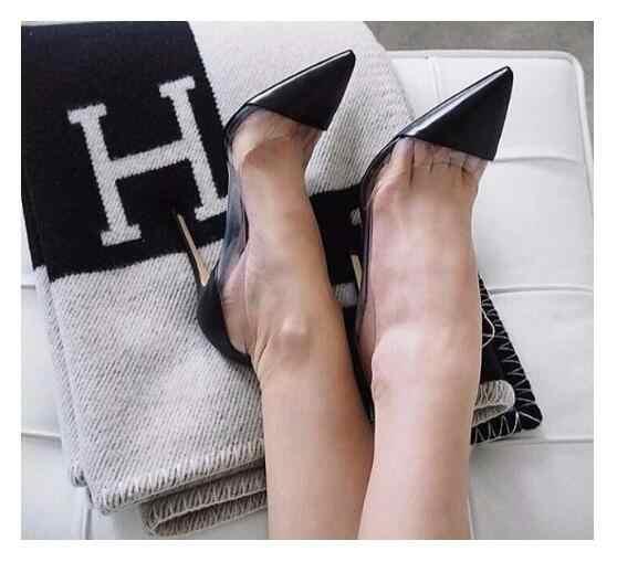 Moda siyah rugan bayanlar seksi yüksek topuklu temizle PVC Patchwork 12cm kadın Stiletto 2018 sıcak parti ayakkabıları düğün ayakkabı