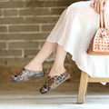 Genuine leather closed toe sandals cut out Personality  female slippers low heel wedges height increasing shoes
