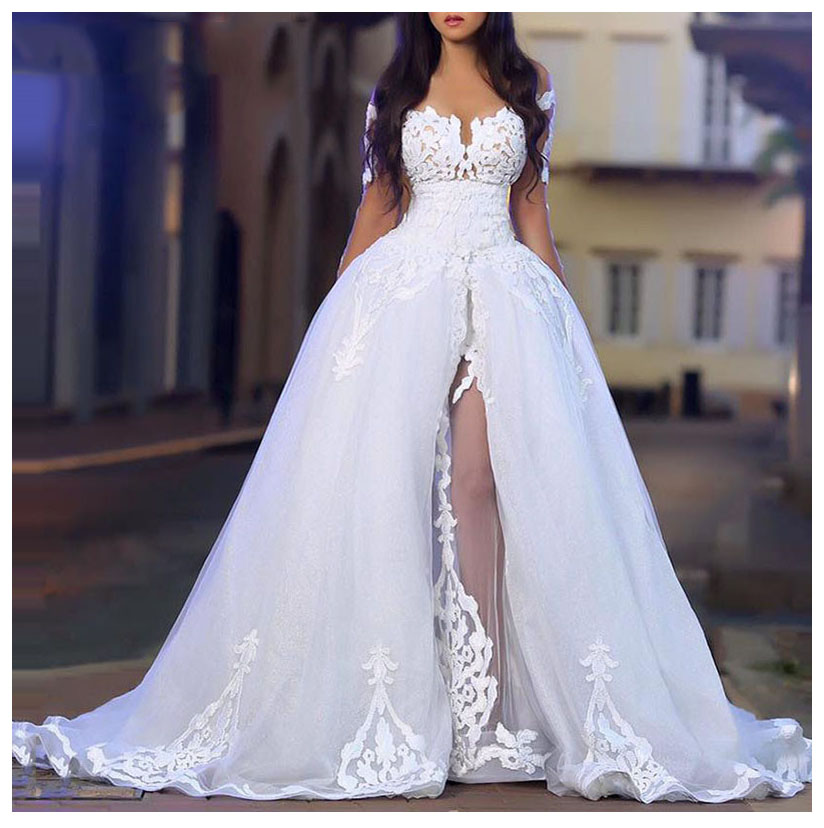 LORIE Sexy Wedding Dress 2019 Side Split Robe de soiree Ball Gowns Bridal Dress Off The