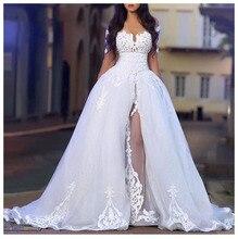 Лори сексуальное свадебное платье 2019 сбоку Разделение Robe de soiree Бальные платья Свадебное платье с открытыми плечами и Высокое качество; для свадьбы платья Новые