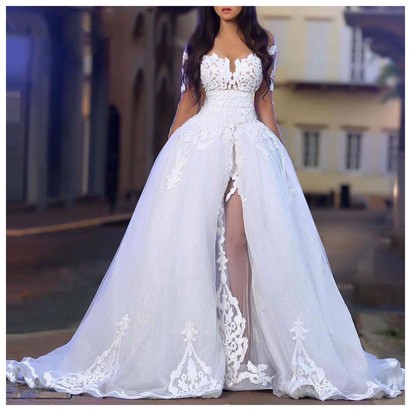 LORIE Sexy Wedding Dress 2019 Side Split Robe De Soiree