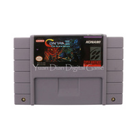 Nintendo SFC SNES Video Game Cartridge Console Card Contra III The Alien Wars USA English Language