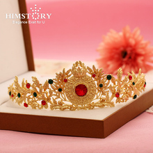HIMSTORY Retro Baroque Brides Gold  Hair Crown Colorful RhinestonesWomen Hair Jewelry Tiaras Headpieces Wedding Hair Accessories все цены