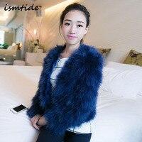 Elegant Winter Coat Long Sleeve Turkey Fur Outerwear Sexy Ostrich Wool Turkey Fur Winter Coat Women