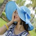 200 UNIDS/LOTE Cordón Del Verano Sombreros de Sun Para Las Mujeres Nueva Moda Side Cap Sombreros de Ala Ancha Beach Floppy Sombrero de Paja Femenino