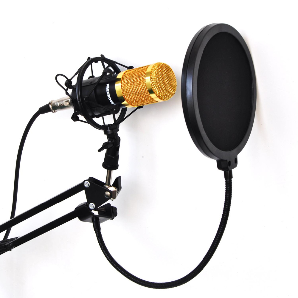 FREEBOSS BM-800 KIT Filaire Condenseur À Son Microphone avec Support + Métal Shock Mount + Pare-Brise pour PC Enregistrement/Chorus/Broadcastin
