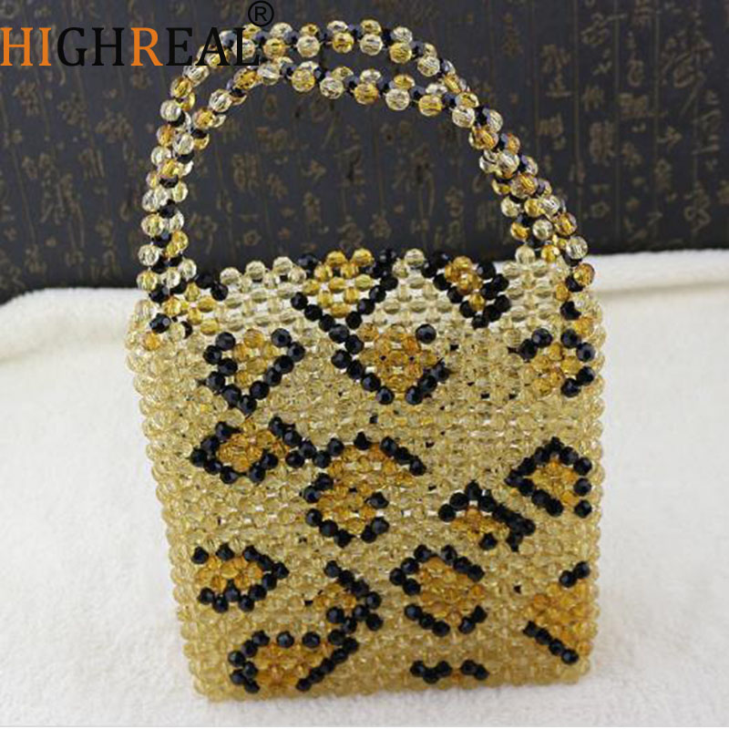 HIGHREAL New Fashion Female Handmade Leopard Pearl Beaded Bag Acrylic Transparent Handbag wholesale drop shipping