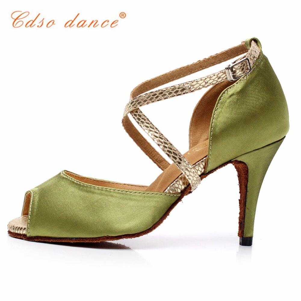 Shengzixue Womens Green Flannel Sandals Ballroom Party Performance Salsa Latin Dance Shoes Heel 6cm-10cm Office & School Supplies