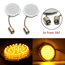 New Fashion 2X 2.2 Front 1157 LED Turn Signal Light With Smoke Lens For 2002-2013 Harley Davidson Amber/Red Color