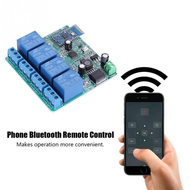 US $23 73 |VBESTLIFE Mobile Phone Remote Control 12V 4 Channels Bluetooth  Relay Switch Phone Control 10m Transmission Wireless Relay Module-in Remote