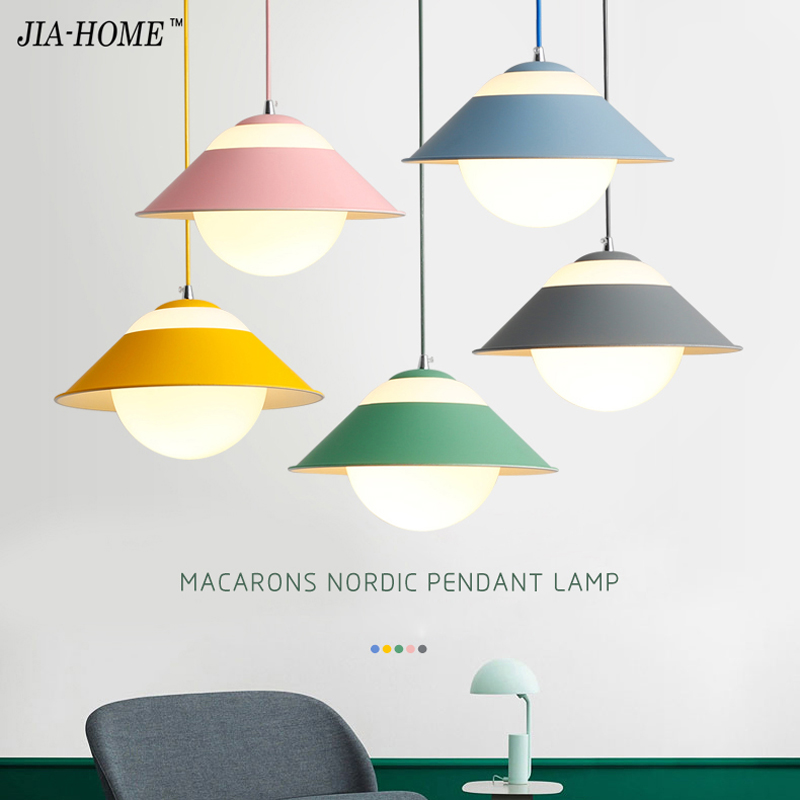 LED Pendant Lights Macaron iron lampshade for bedroom living room Luminaire Dining Room Lights Pendant Lamp For Home fixture modern home decoration bird pendant lights for dining room bar bedroom cloth iron country style pendant lamp lighting fixture