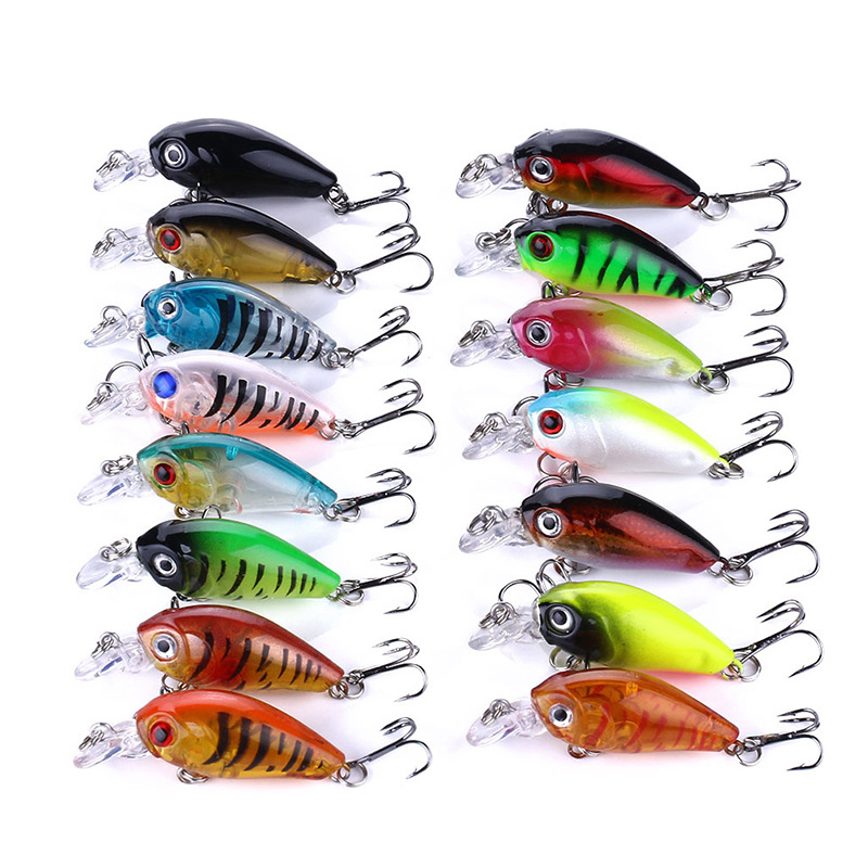 Fishing Lure set 15pcs fishing hard bait Mini Minnow Floating swing Crankbait 4.5cm Crazy Wobblers Artificial Bionic Crank Lures