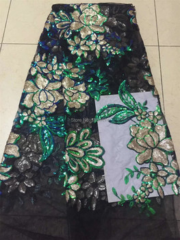 Multicolor African Lace Fabric 2019 High Quality Lace Fabric French Sequins Net Cord Tulle Fabrics Nigerian Laces For Wedding CD