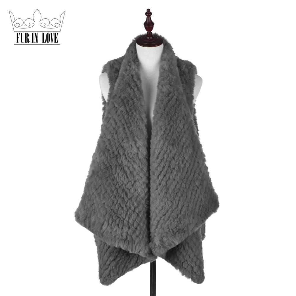 2016 Faux Rabbit Fur Knitted Vest Women Slim Fit Sleeveless Waistcoat Lady Solid Color Rabbit Pelts