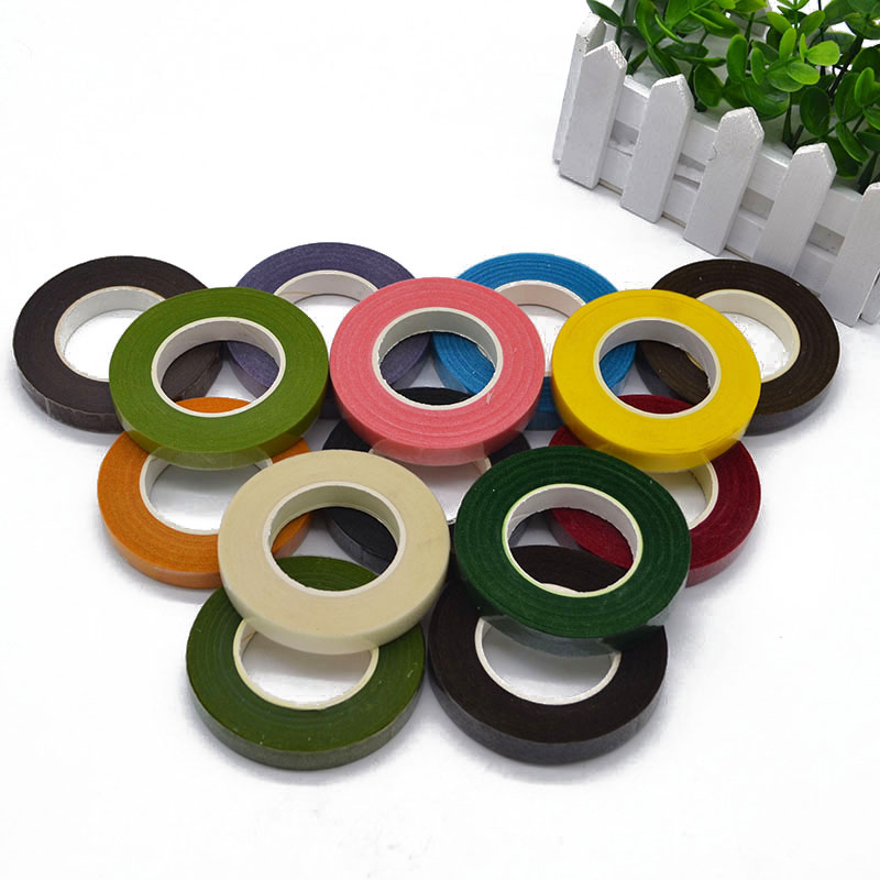 1 Roll Multicolor 30 Yards 12mm Sticky Paper Tape Floral Craft Roll Dark Green Artificial Flower Bouquet Stem Wrap Adhesive Tape