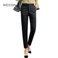 Spring New Solid Suit Pant Women High Waist Office Lady Zipper Pencil Pants Work Formal Wear