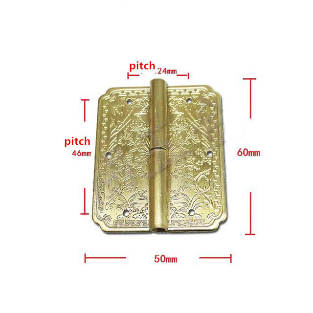 Wholesale Yellow Color Brass Cabinet Door Luggage Hinge,6 Holes Decor, Furniture Decoration,