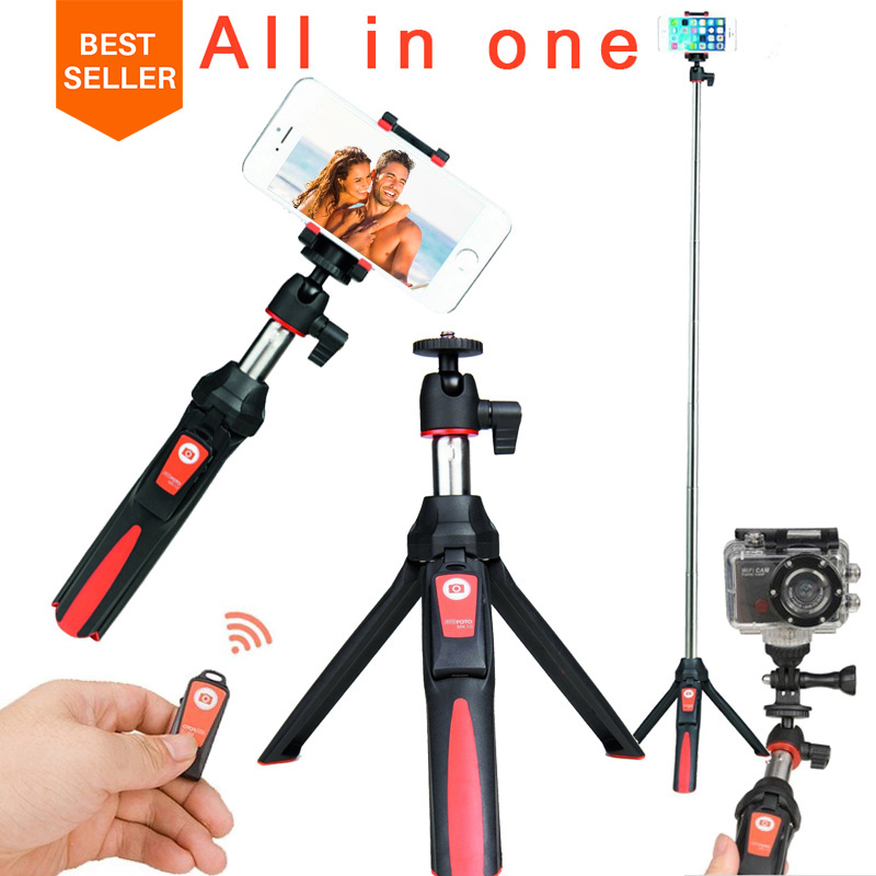 Ulanzi BENRO MK10 Selfie Stick <font><b>Tripod</b></font> Stand 4 in 1 Extendable Monopod Bluetooth Remote Phone Mount for iPhone X 8 Android Gopro