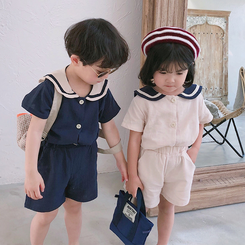 2019 Summer Korean Style Kids Sailor Collar Cotton Linen Clothes Sets Cute Boys Girls Short Sleeve T Shirt + Shorts 2pcs Suits