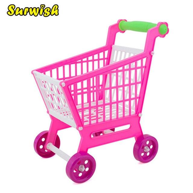 08191b5b4 Surwish البسيطة عربة تسوق في المتجر صندوق تخزين عربة تسوق التعليمية لعب لعبة  للأطفال-روزي