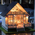 New Nordic Holiday Villa DIY Doll house miniatura Handmade wooden casa diy birthday gifts for adults and lovers children