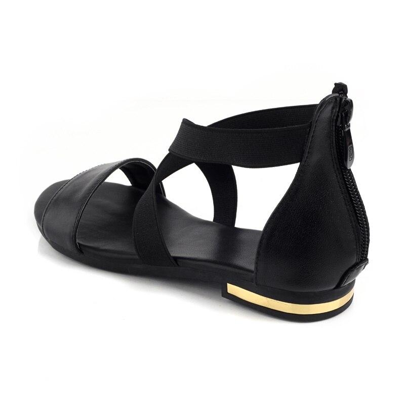 Zapatos 2018 Genuino Verano Sandalias 34 Caliente Moda De Pisos Señoras Cuero Negro Tacón Venta Dulce 43 Las B1136 Mujeres wFr5wOxqC
