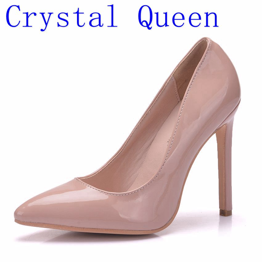 Crystal Queen Women Pumps High Heels Shoes 12cm Black Stiletto Pointed Toe Woman Shoes Sexy Party Shoes Nude Heels for Women new arrival blue and white porcelain pattern stiletto heels pretty women glittering crystal pointed toe pumps high quality shoes