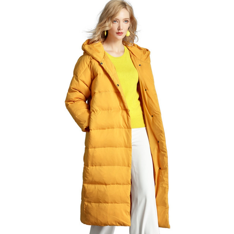 (TopFurMall)European Autumn Winter Women Parkas   Down     Coats   With Hoody Lady X-Long Outwear Overcoat Plus Size LF5149