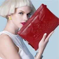 WERLO Women Clutch Bags Fashion Genuine Leather Flower Pattern Envelope Shoulder Bag Ladies Small Messenger Handbag